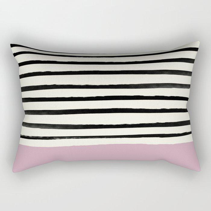 Dusty Rose & Stripes Rectangular Pillow