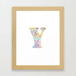Letter Y - Watercolor Monogram - Colorful Lettering - Watercolor Letter Print - Watercolor Initial Framed Art Print