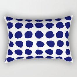 Aria - indigo brushstroke dot polka dot minimal abstract painting pattern painterly blue and white  Rectangular Pillow