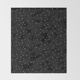Constellations (Black) Throw Blanket
