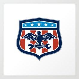 American Eagle Mechanic USA Flag Crest Art Print