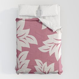 tropical pink leaves Comforters