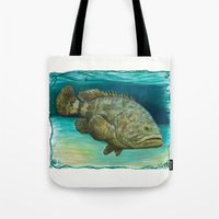 biology Tote Bags featuring Goliath Grouper ~ Watercolor by Amber Marine