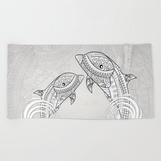 Beautiful dolphin, mandala design Beach Towel