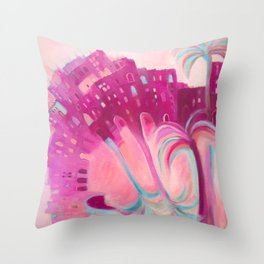 Moroccan Morning - Colourful Moroccan Buildings, Palm Trees and Souk. Throw Pillow