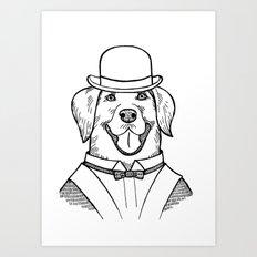Portrait of a Labrador retriever with a bowler hat Art Print