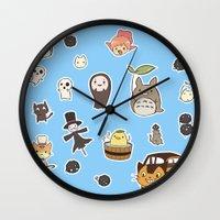 studio ghibli Wall Clocks featuring studio ghibli  by skymerol