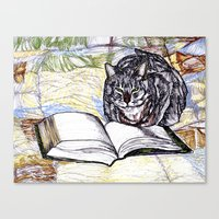 bookworm Canvas Prints featuring Bookworm by The Holga Contessa