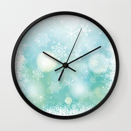Blue Snowflakes Blur Lights Snowing Modern Winter Pattern Wall Clock