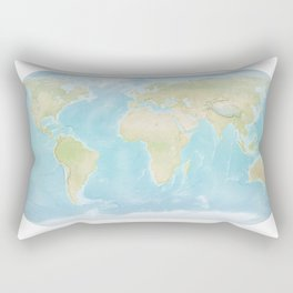 Minimalist Physical Map of the World Rectangular Pillow