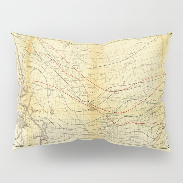 Isothermal Chart North of the 36th Parallel between the Atlantic & Pacific Oceans (1859) Pillow Sham