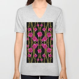 "FUCHSIA PINK ""ROSES & THORNS""  BLACK ART PATTERNS Unisex V-Neck"