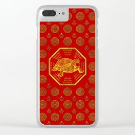 Golden Tortoise / Turtle Feng Shui on red Clear iPhone Case