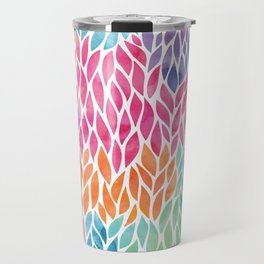 Rainbow Watercolor Leaf Teardrop Pattern Travel Mug