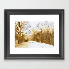 sepia road Framed Art Print
