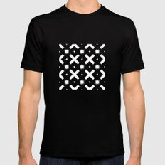 Black and white pattern MEDIUM Mens Fitted Tee Black