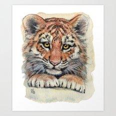 Cute Tiger Cub 903 Art Print