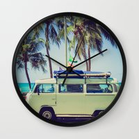 vw bus Wall Clocks featuring VW Bus Beach Vacation by Limitless Design