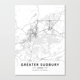 Greater Sudbury, Canada - Light Map Canvas Print
