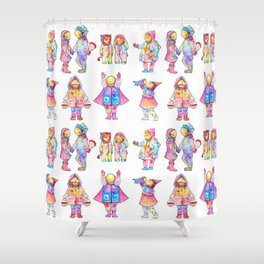 Space Kids Pattern Shower Curtain