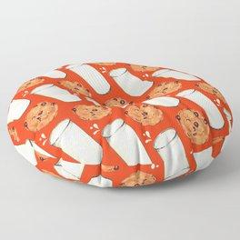 Milk & Cookies Pattern - Red Floor Pillow