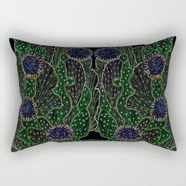 Blooming Cactus, Black and Neon Rectangular Pillow