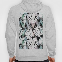 Blush pink green white hand painted tropical leaves chevron Hoody