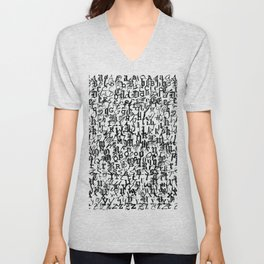 alphabet - letters / font collection - black and white Unisex V-Neck