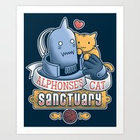 fullmetal Art Prints featuring Alphonse's Cat Sanctuary by adho1982