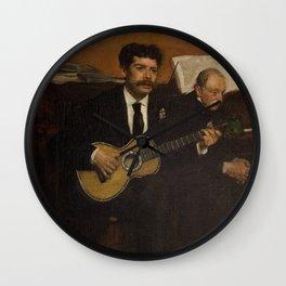 Lorenzo Pagans and Auguste de Gas by Edgar Degas Wall Clock