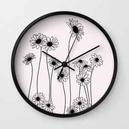 Daisy flowers illustration - Natural Wall Clock