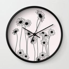 Daisy flowers illustration - Natural Wall Clock