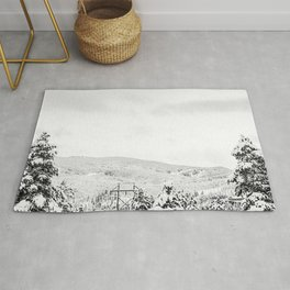 Deep Powder Trees // Black and White Landscape in the Rockies Rug