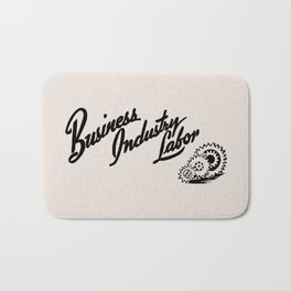 Business Industry Labor with Gears in Black Bath Mat