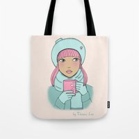 coffe Tote Bags featuring Coffe time by Theresa Lue