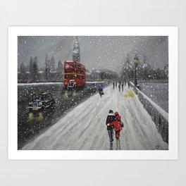 Snow on Westminster Bridge Art Print