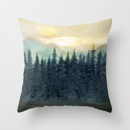 Forest Under the Sunset II Throw Pillow