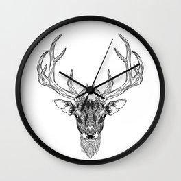 DEER head. psychedelic / zentangle style Wall Clock