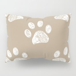 Light brown colored paw print pattern background Pillow Sham