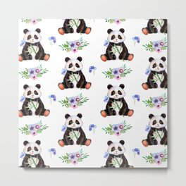 Garden Panda Metal Print