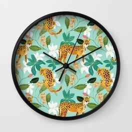 Cheetah Jungle #illustration #pattern Wall Clock