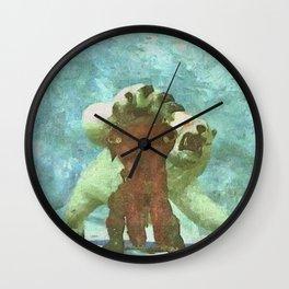 White bear attack Wall Clock