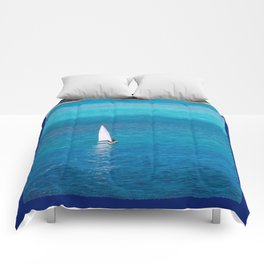 Perfect Blue Sailing Day Comforters