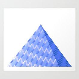 Abstract Blue Pyramid Art Print