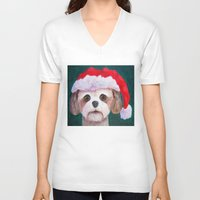 shih tzu V-neck T-shirts featuring Christmas Shih Tzu By Annie Zeno by Annie Zeno