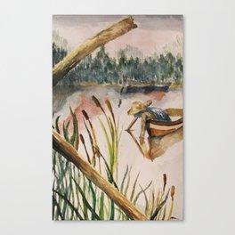Fishing Through Cattails  Canvas Print