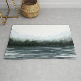 Foggy Lake Abstract Landscape Painting Rug