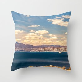Sunny day view from Krk island to the gulf of Rijeka Throw Pillow