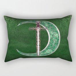 Green Celtic Moon Rectangular Pillow