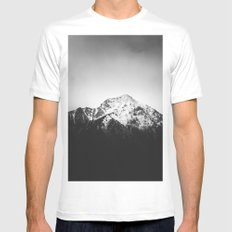 Black and white snowy mountain MEDIUM White Mens Fitted Tee